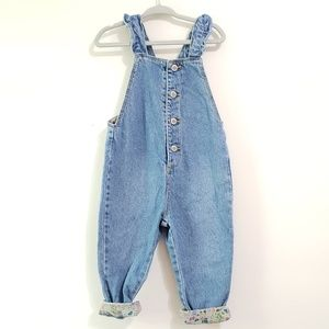 Zara Denim Overalls with Floral Accent Button Up
